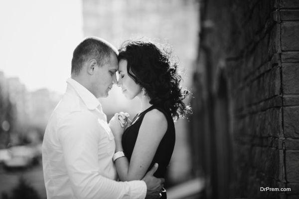 romantic couple embrace