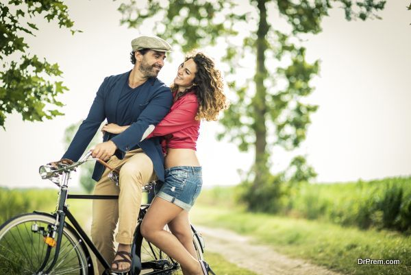 Happy Couple Biking.