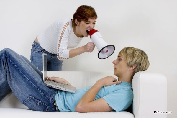 Couple trying to communicate