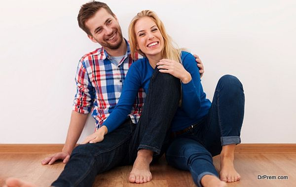 Young couple have fun together at home