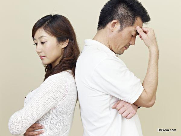 sad young asian couple