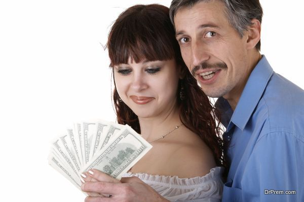 Happy family thinking how to spend money